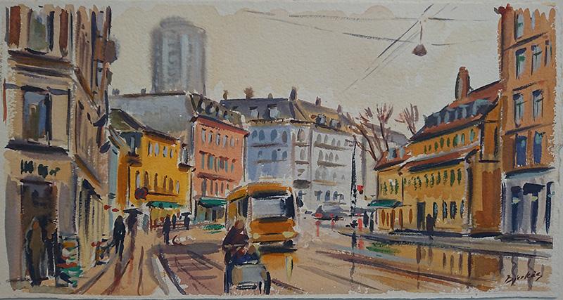 Konst, akvarell, Köpenhamn, målad av Göteborgskonstnären Carl Bjerkås