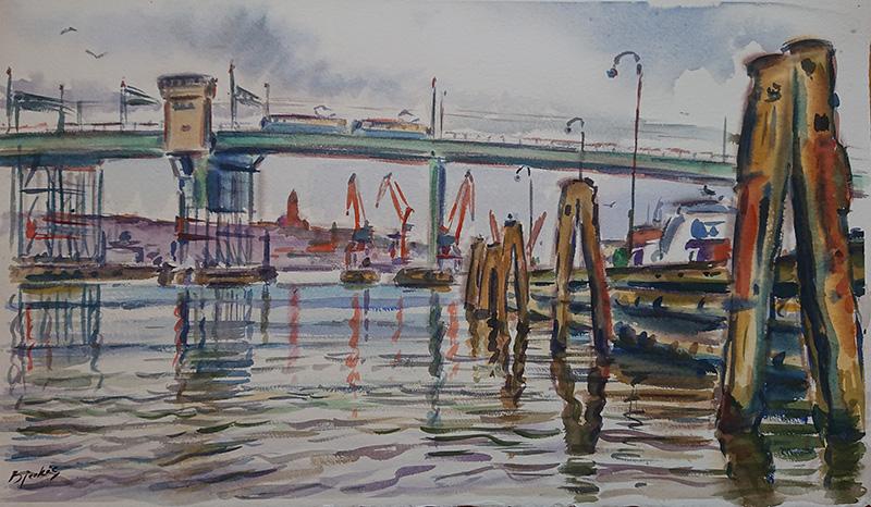 Konst, akvarell, Götaälvbron, Göteborgs hamn, målad av Göteborgskonstnären Carl Bjerkås