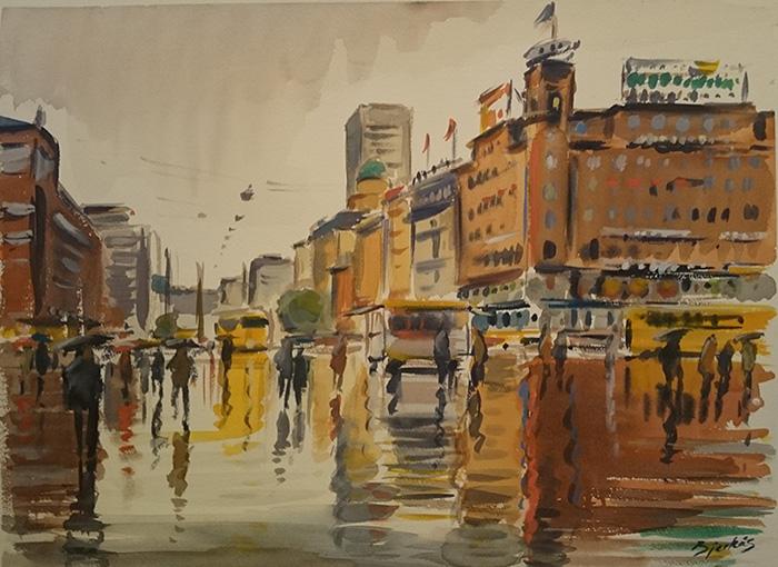 Carl Bjerkås, akvarell, København