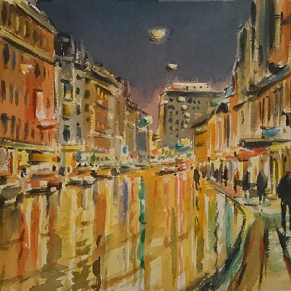 Carl Bjerkås, akvarell, København, nat, kunst, art