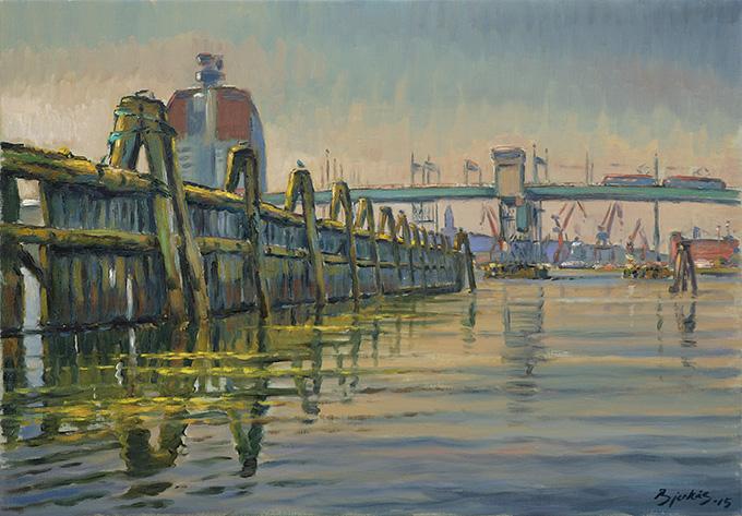 Konst, oljemålning, Göteborgs hamn, målad av Göteborgskonstnären Carl Bjerkås