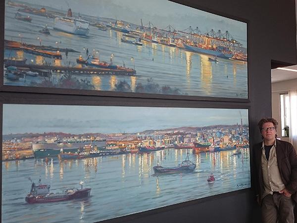 Konst, Beställningsmålningar, Göteborgs hamn, Carl Bjerkås, Göteborgskonstnär