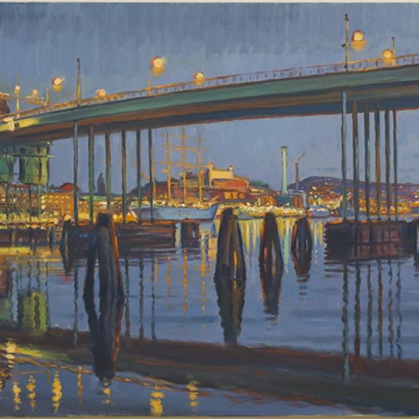 Konst, oljemålning, Göteborgs hamn, Götaälvbron, målad av Göteborgskonstnären Carl Bjerkås