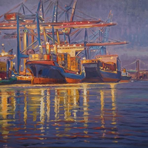 Konst, oljemålning, Göteborgsmotiv, Götebors hamn, målad av Göteborgskonstnären Carl Bjerkås