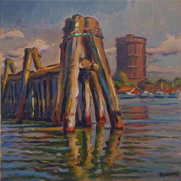 Konst, oljemålning, Göteborgsmotiv, Gasklockan, målad av Göteborgskonstnären Carl Bjerkås