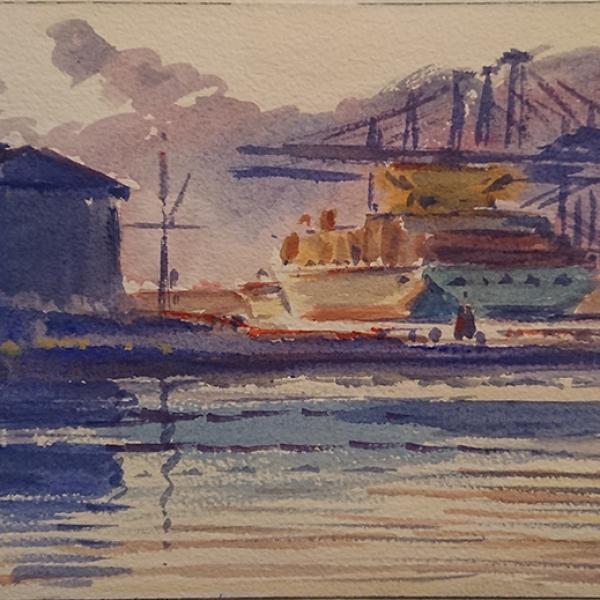 Konst, akvarell, Göteborgsmotiv, Göteborgs hamn, målad av Göteborgskonstnären Carl Bjerkås