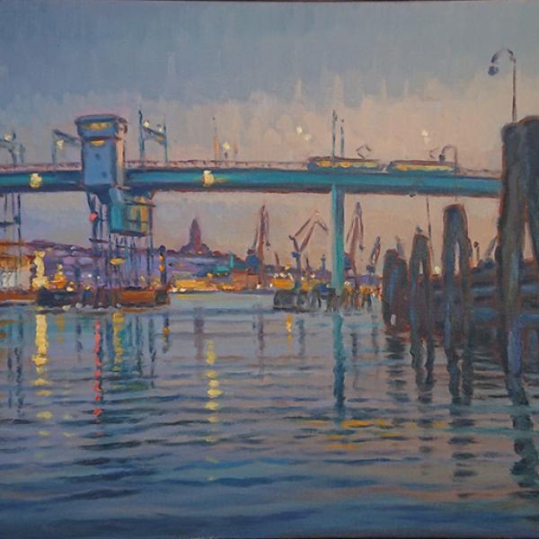 Konst, oljemålning, Göteborgsmotiv, Götaälvbron, Götebors hamn, målad av Göteborgskonstnär Carl Bjerkås