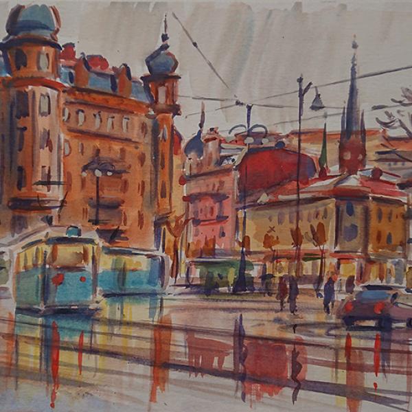 Konst, akvarell, Göteborgsmotiv, målad av Göteborgskonstnären Carl Bjerkås