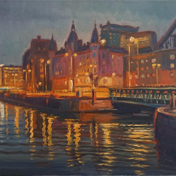 Konst, oljemålning, Göteborgsmotiv, målad av Göteborgskonstnären Carl Bjerkås