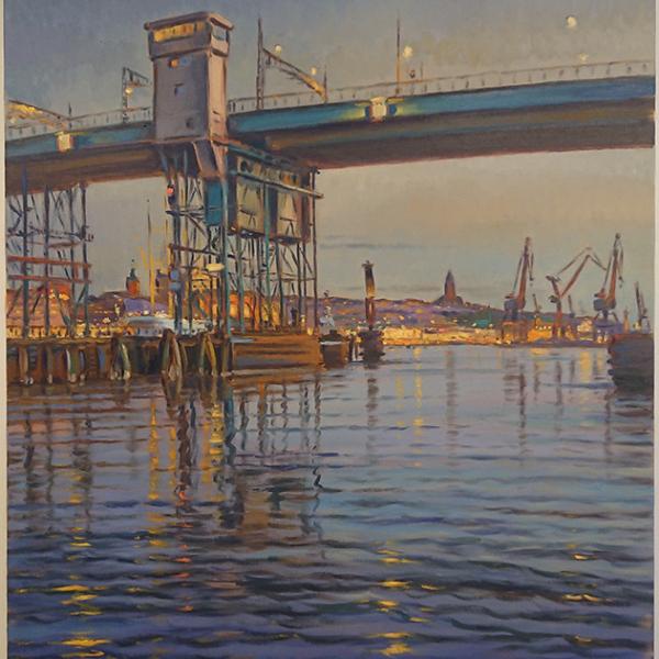 Konst, oljemålning, Göteborgsmotiv, Götebors hamn, Götaälvbron, målad av Göteborgskonstnären Carl Bjerkås