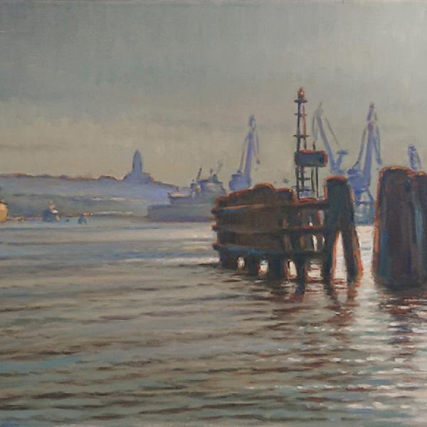 Konst, oljemålning, Göteborgsmotiv, Göteborgs hamn, målad av Göteborgskonstnären Carl Bjerkås